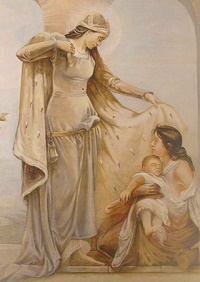 Malowidło symbolizujące wsparcie osoby potrzebującej